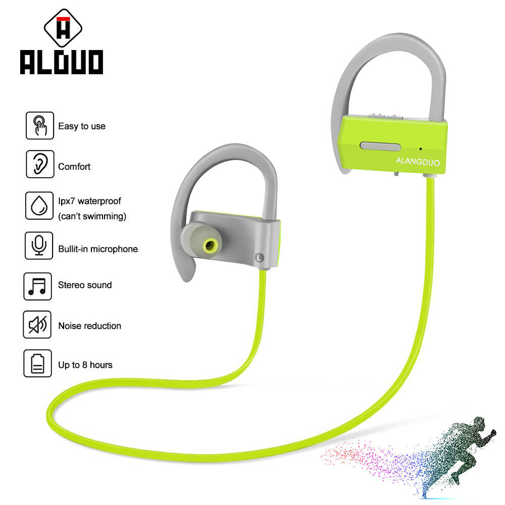 ALANGDUO A1 bluetooth ヘッドセット防水ワイヤレススポーツ低音 Ecouteur Bluetooth V4.1 イヤホンとマイク auriculares inalambrico