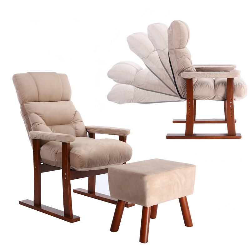 € 228.64 |Style japonais meubles d\'ameublement en bois canapé fauteuil pouf  salon moderne inclinable Relax Accent fauteuil avec tabouret de pied-in ...