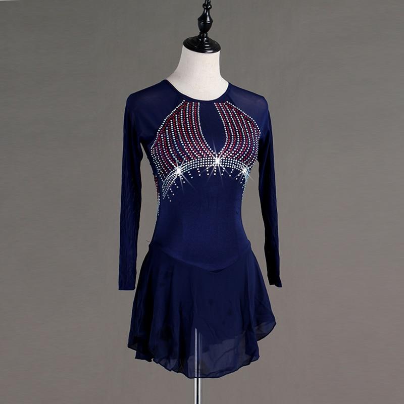 Robe de patinage artistique femmes filles patinage sur glace robe bleu foncé Spandex strass haute élasticité Performance patinage porter B027