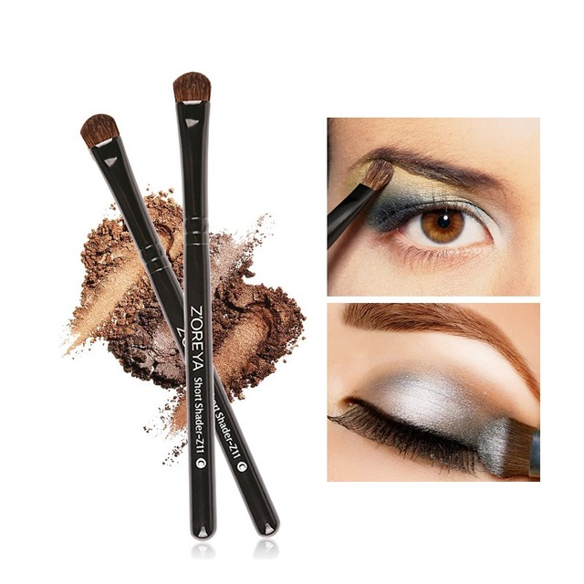Maquillaje cepillo de ojos pelo de caballo brocha de ángulo cónico uso para cejas sombra de ojos labio herramienta cosmética Q1