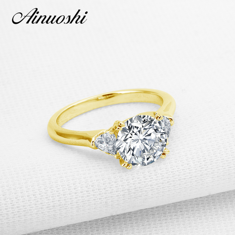 AINUOSHI 10K Solid Yellow Gold Wedding Rings 2 Carat Simulated Diamond Engagement Band 3 Stones Women Ring Luxury Fine Jewelry ainuoshi 10k solid yellow solid gold luxury wedding ring 2 carat round cut simulated sona diamond jewelry women engagement rings