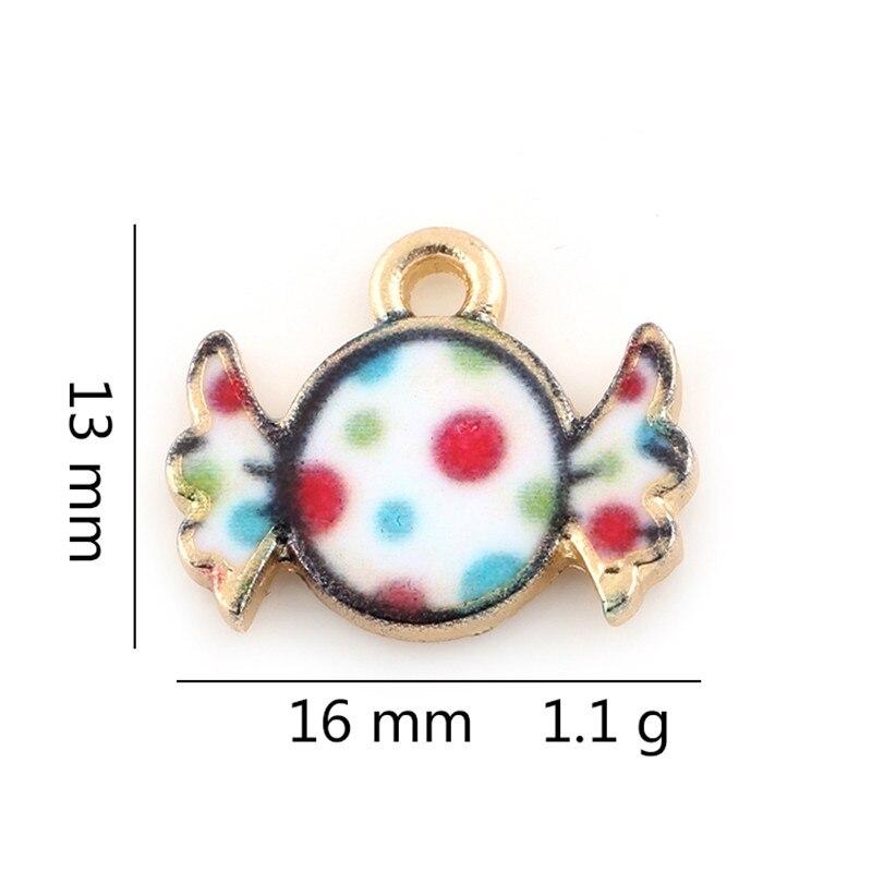 20PCS Multicolor Children Candy Shape Charms For Bracelets Silver Color Metal Pendant