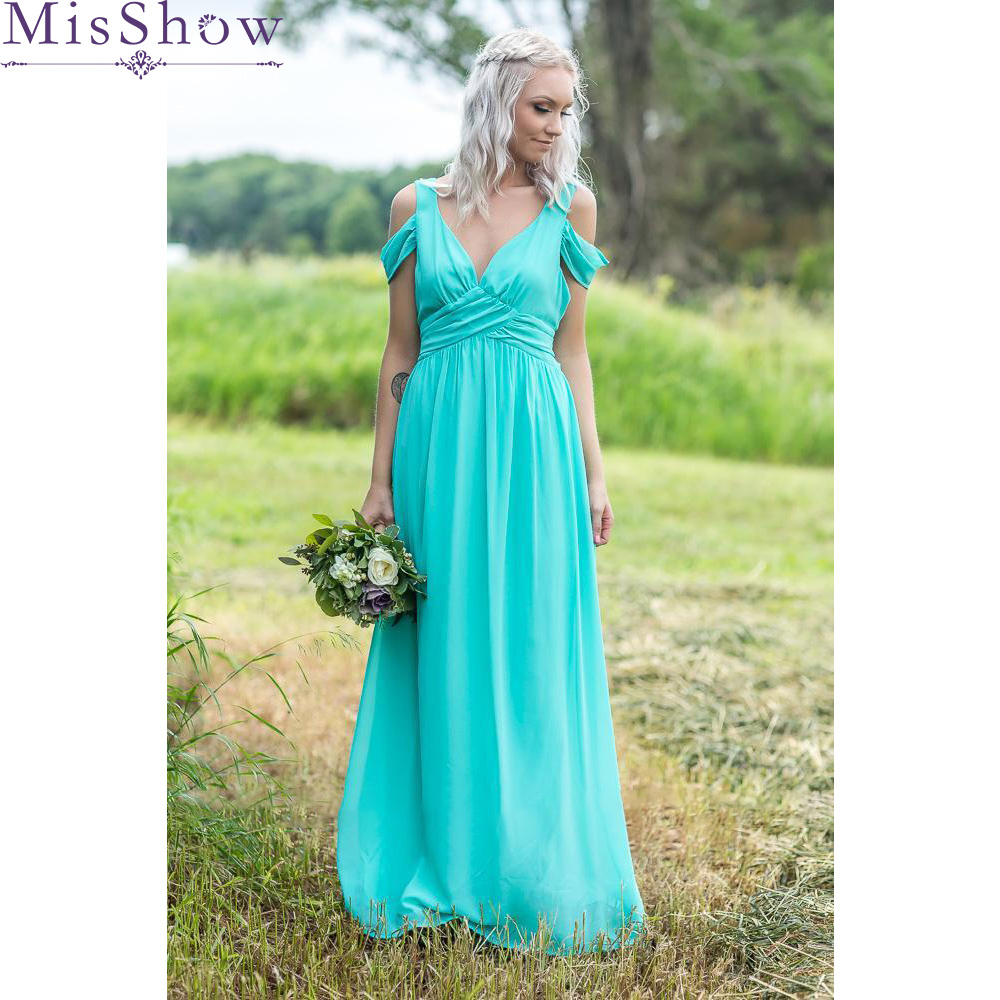 2019 Women Bridesmaid Dresses Long Formal Wedding Party Dresses Maid Of Honor Dress Chiffon Party Cold Shoulder Backless Dress