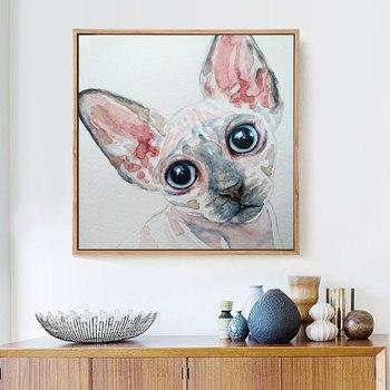 HUACAN 5D DIY Diamond Painting Cat Full Drill Square Diamond Mosaic Sphynx Diamond Embroidery Cross