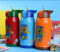 Cartoon Child Straw Thermos Portable Vacuum Flask Stainless Steel Thermo Baby Insulation Cup Kettle Kids Travel Water Bottle
