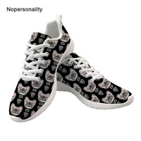 Nopersonality Black French Bulldog Print Men's Vulcanize Shoes Casual Spring Autumn Mesh Shoes Breathable Male Sneakers