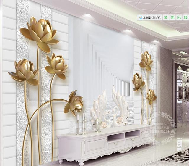 Us 1835 49 Offcustom 3d Photo Wall Mural Golden Lotus Swan Wallpaper For Walls 3 D Photo Mural Wallpaper For Living Room In Wallpapers From Home