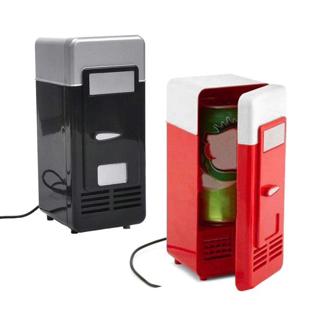 Desktop Mini Fridge USB Gadget Beverage Cans Cooler Warmer Refrigerator With Internal LED Light Car Use Mini Fridge gadget