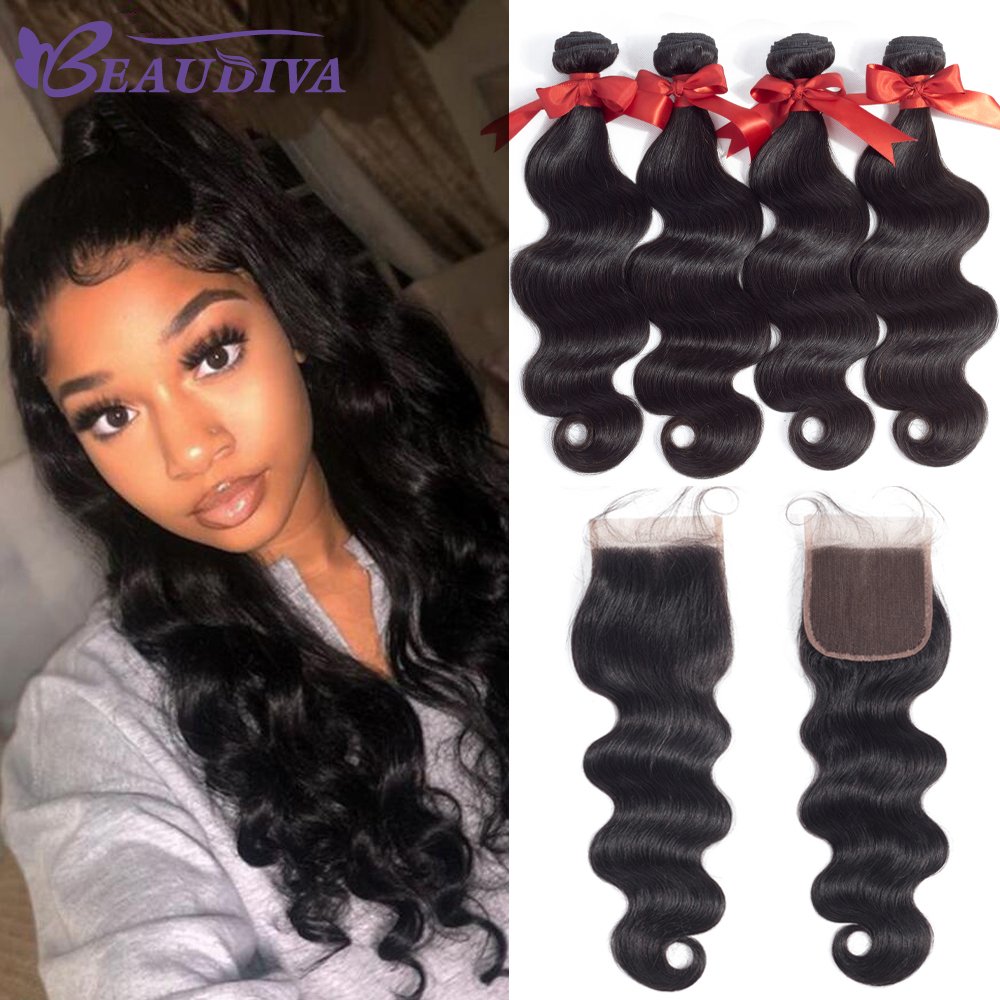 BEAUDIVA Brazilian Hair Weave Bundles Body Wave Bundles with Closure Human Hair Weave Bundles With Closure