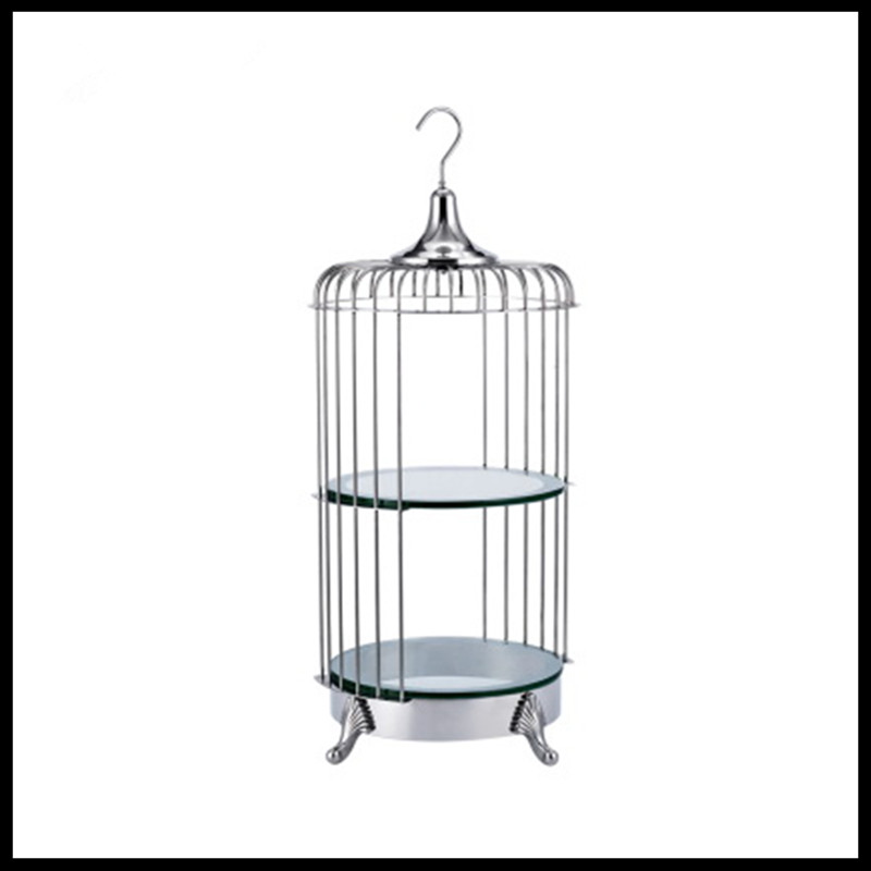 1 PCS European creative stainless steel two layer bird cage snack rack buffet pastry rack bar ktv fruit dish snack tray
