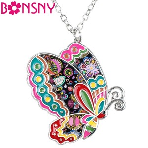 Bonsny Enamel Alloy Floral Butterfly Necklace Pendant Chain Collar Novelty Insect Jewelry For Women Girls Gift Party Accessories