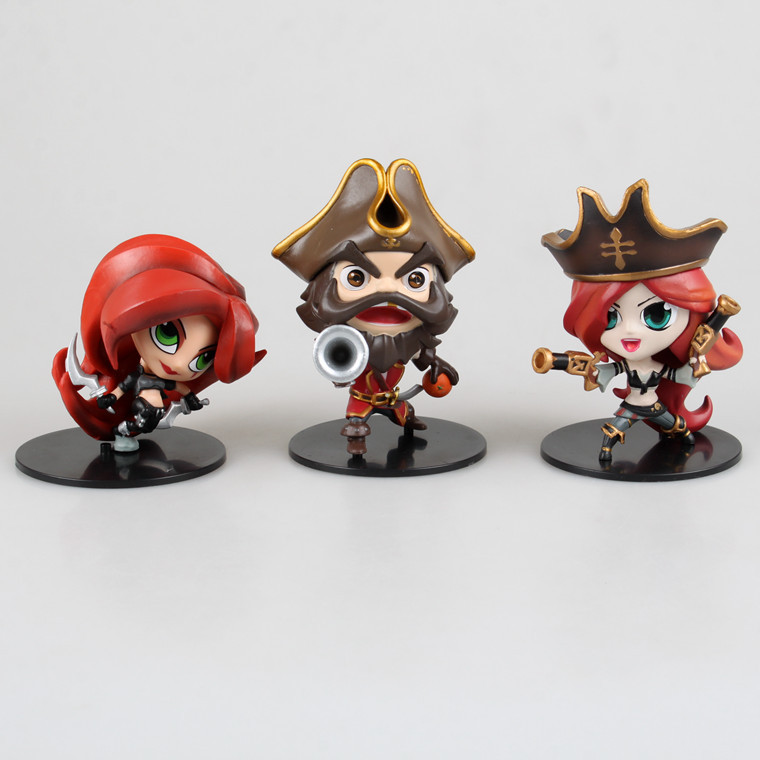 Free Shipping Cute 3pcs Anime Game Gangplank Katarina Miss Fortune 3pcs set Boxed 10cm PVC Action Figure Collection Model Dolls free shipping cute 4 nendoroid luck star izumi konata pvc action figure set model collection toy 27 mnfg032