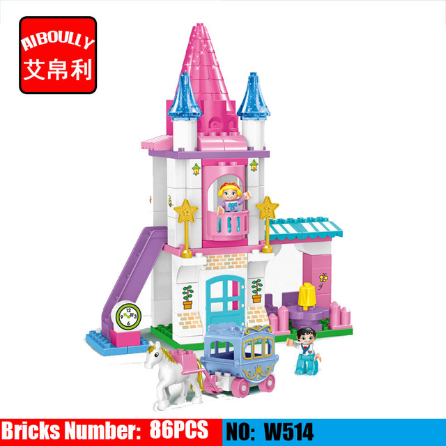 US $26 17 27% OFF|Dream Girls series Style Big Size Blocks Toy Princess and  Castle Baby Learning Education Building Duploe Toys for children-in Blocks