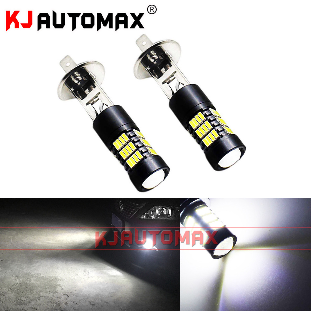 For Car Fog Lights 54-SMD 4014 H1 LED Replacement Bulbs For AUDI A1(8X1,8XK)1.4 TFSI/Year 2014 2PCS Bright White P 14,5 S