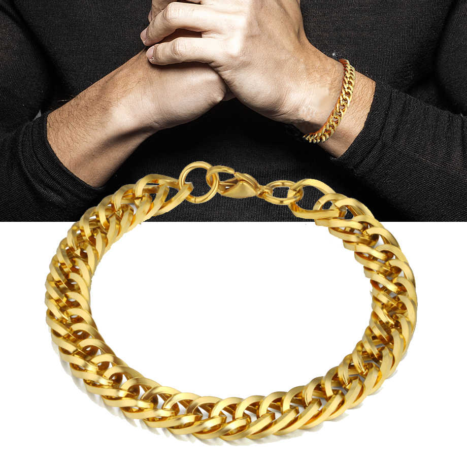 Wholesale Braslet Linked Jewelry Men's Bracelets Gold Color Chain Link Bracelets For Women Mens Gold Chain