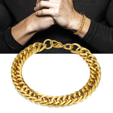 Wholesale Braslet Linked Jewelry Men's Bracelets Gold Color Chain Link Bracelets For Women Mens Gold Chain(China)