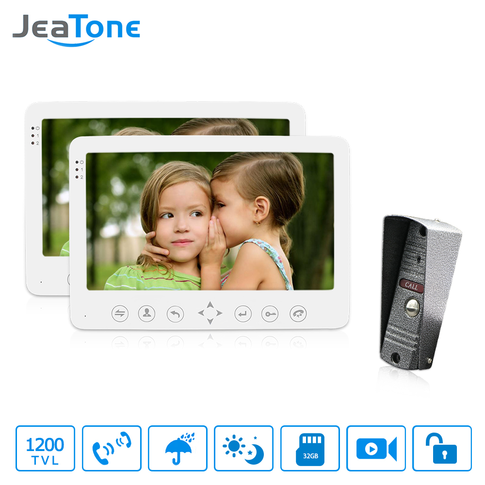 JeaTone 7 Inch Video Door Phone Intercom Touch Key Monitor Remote Unlocking Waterproof IR Night Vision 1200TVL Mini Camera