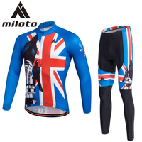 MILOTO Men Long Sleeve Set Spring Autumn Ropa Ciclismo 3D Gel Pad Cycling Jersey Kits Blue