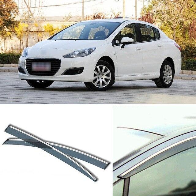 4pcs Blade Side Windows Deflectors Door Sun Visor Shield For Peugeot 308 2012-2013