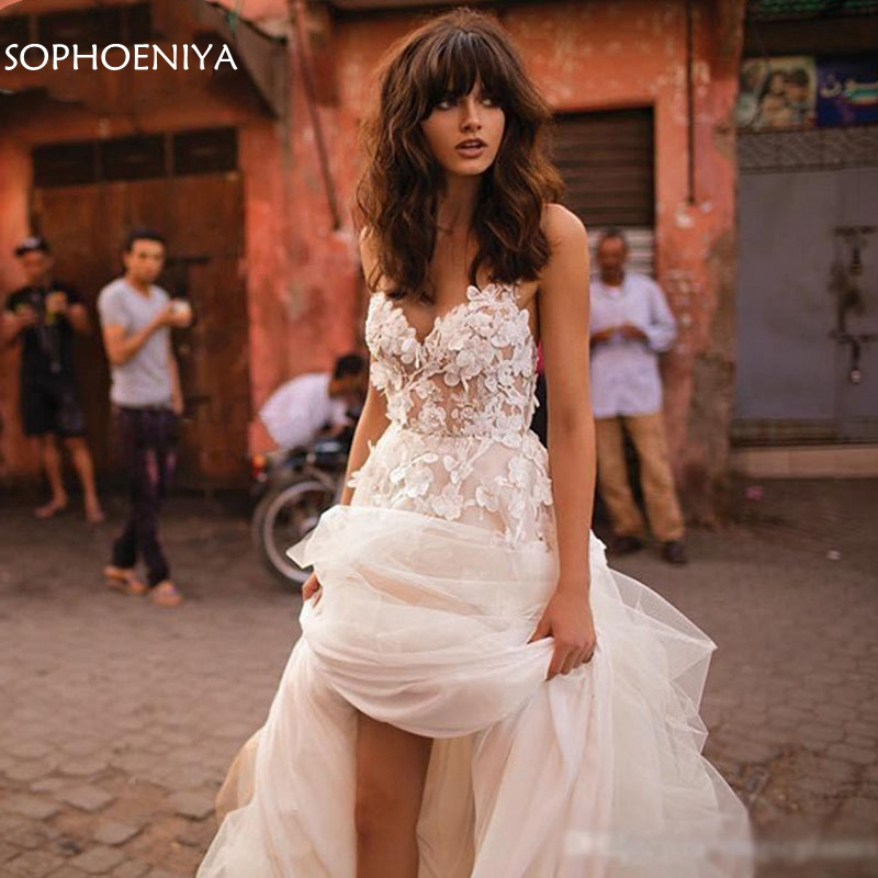 New Arrival Princess Wedding Dress A-Line Tulle Backless Boho Wedding dress Ivory bridal gown vestido de casamento