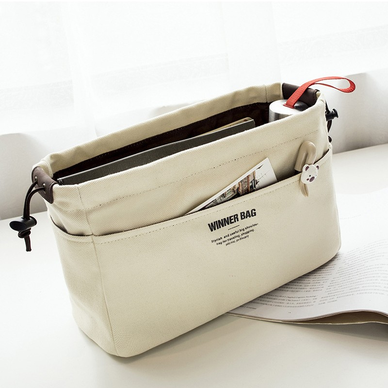 d72d1f997a6 US $13.27 |Canvas Purse Organizer Bag Organizer Insert with Compartments  Makeup Organizer Handbag organizador trousse maquillage femme-in Cosmetic  ...