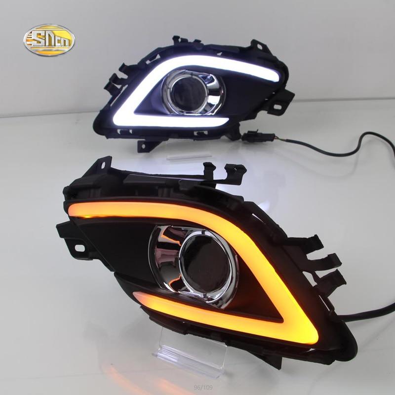 SNCN светодиодные дневные ходовые огни для Мазда 6 атенза 2014-2016 12V водонепроницаемый противотуманные крышка лампы DRL с сигнала поворота