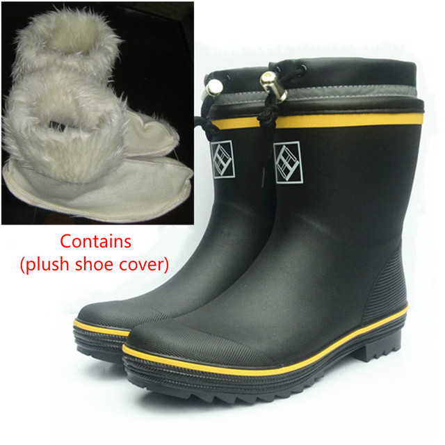New Fashion Mens Fishing Rain Boots  Non-slip Casual Rubber Waterproof Shoes