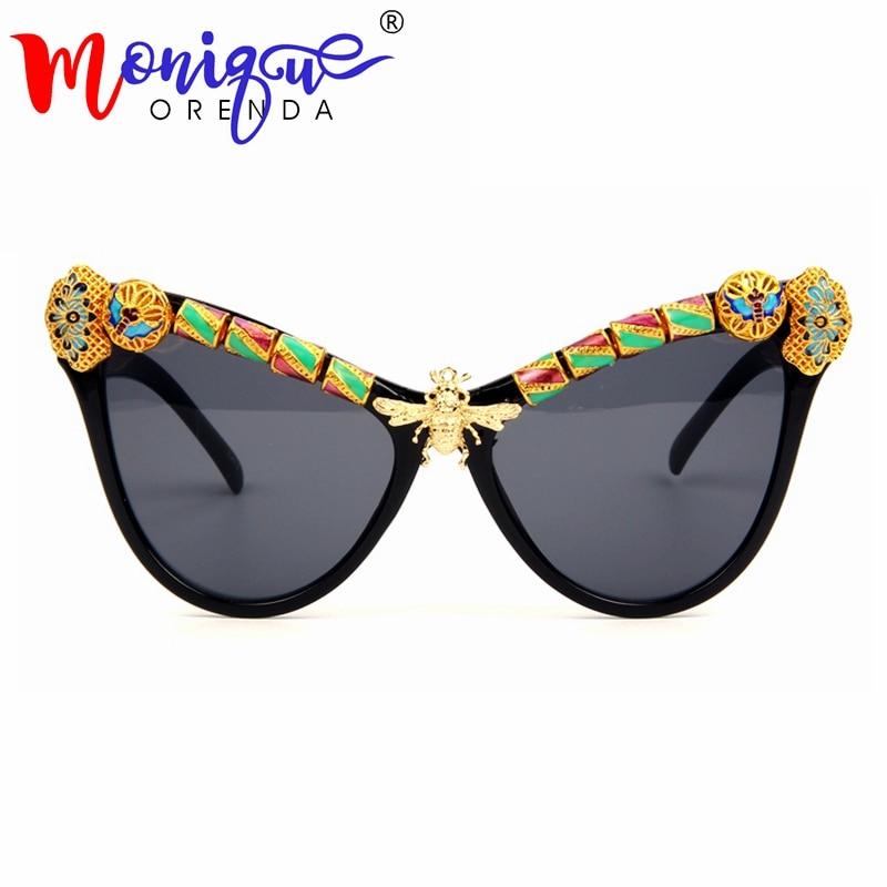 High Quality Cat eye sunglasses Women Luxury Arabian craft Copper Bee Brand Sunglasses Vintage Shades Female Oculos de sol