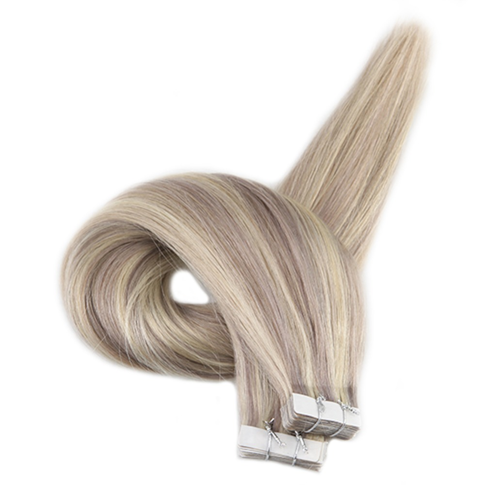 Full Shine Tape In Extensions Human Hair 100% Machine Made Remy Blonde Color 20 Pcs 50g Tape In Hair Extension Skin Weft Glue On