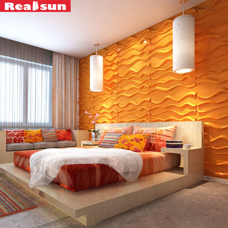 Decorative Wall Panels For Bedroom : Decorative d wall panel wave moisture proof embossed
