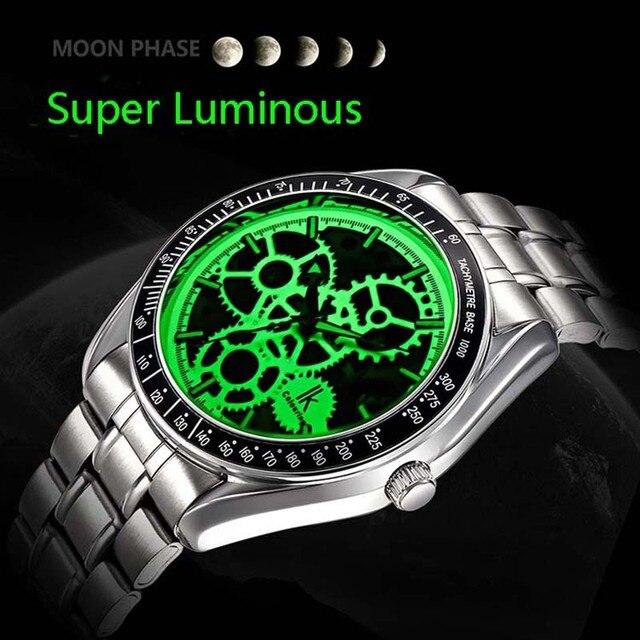 ada177c7fd2 Luminoso nuevo reloj de pulsera esqueleto de hombre IK de acero inoxidable  antiguo Steampunk Casual esqueleto