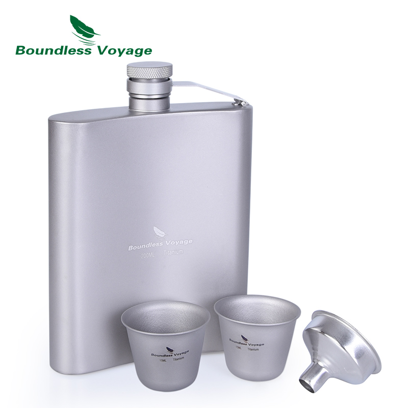 Boundless Voyage Titanium Hip Flask Sake Cup Set Outdoor Camping Hiking Travel Picnic Whiskey Wine Tea