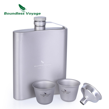 Boundless Voyage Titanium Hip Flask Sake Cup Set Outdoor Camping Hiking Travel Picnic Whiskey Wine Tea Flagon Mug Drink 200ml fire maple portable titanium flagon outdoor hip flask camping wine pot jug with cup travel drinkware fmc 1703002