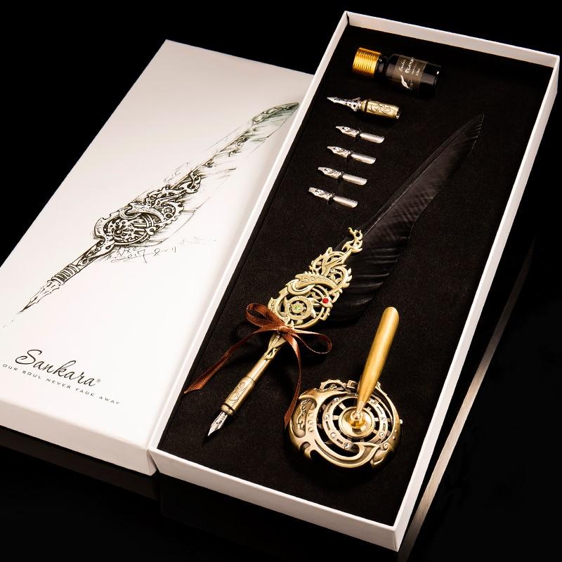 European retro feather pen business gift box dip pen teacher s day gifts