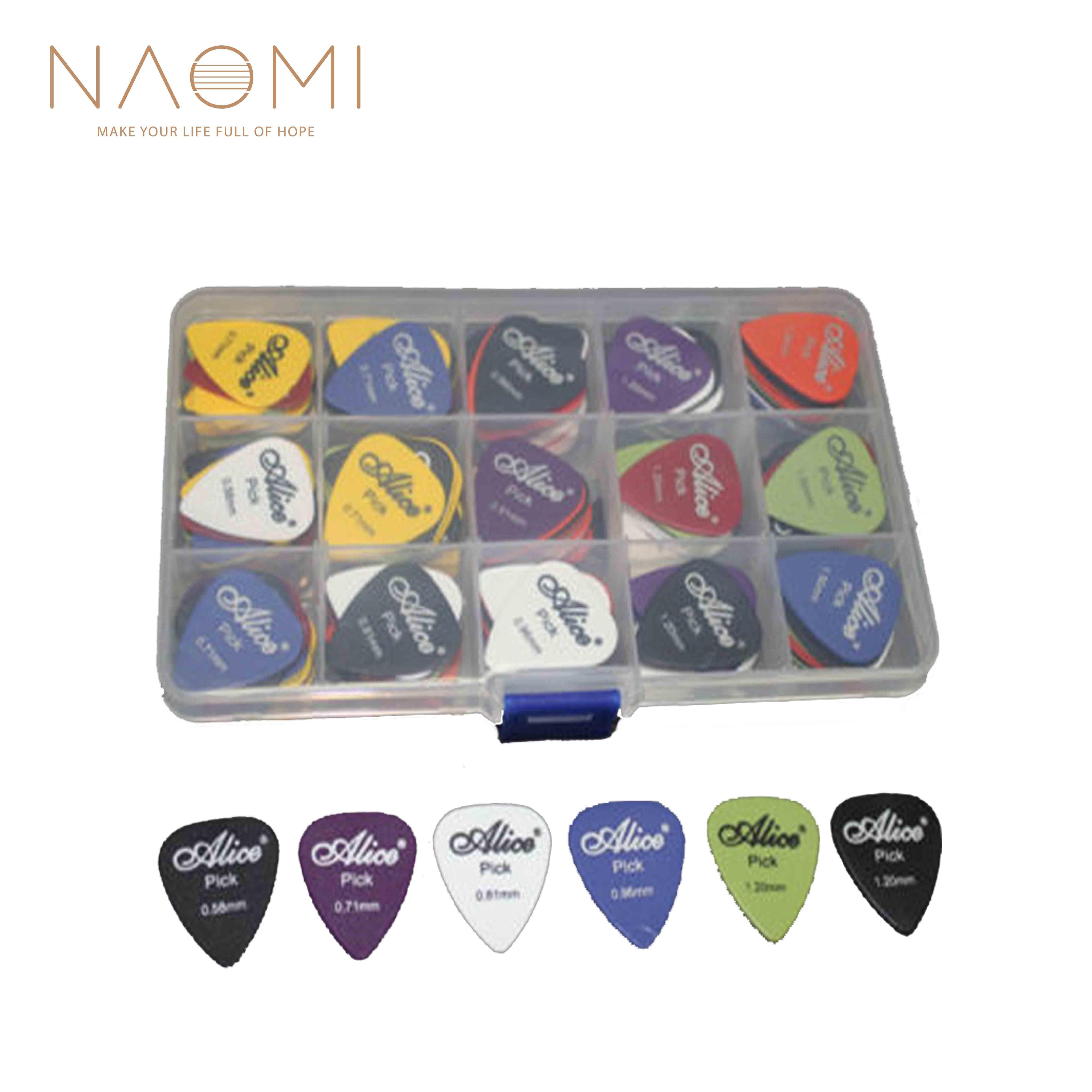 NAOMI Guitar Picks 100pcs Acoustic Electric Guitar Picks Plectrum Various 6 Thickness + Pick Box Guitar Parts Accessories New