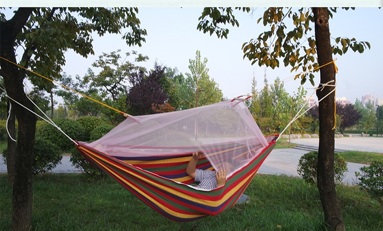 210*150cm Outdoor Camping Hunting Mosquito Net Hammock Folded Into The Pouch Bed Travel Kit Camping Hiking Hammock 1or 2 Person