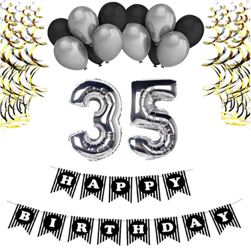 35th Happy Birthday Party Decorations Balloons Gold Silver Number 35 Foil Adults 60 Years Old