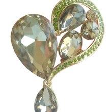 """HelenaJewelry 2,3"""" Золотистые коричневые Стразы и кристаллы Любовь Сердце брошка заколка медальон EE06311C5"""
