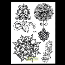 1pc  mixture picture designs for sexy women body beauty & health henna bj040 lotus flower lace mehndi temporary tattoo paster