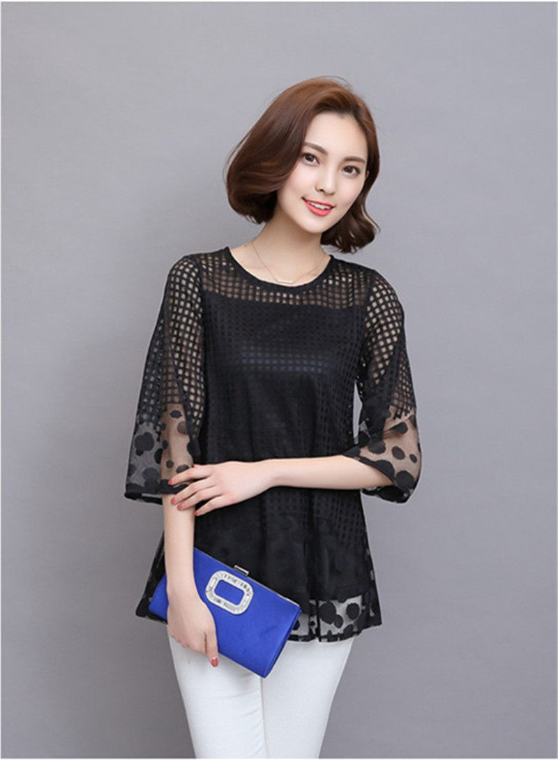 Plus Size 4XL 5XL 6XL  Luxury Lace O Neck  Women Blouse Shirt Noble Long Mesh sleeve Shirt Blouse Vintage tops Blusas Femininas (29)
