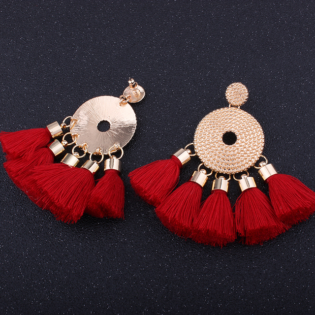 Vintage Gold Handmade Tassel Earrings