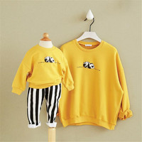 2016 New Design Family Clothes Autumn Winter Thickening And Thickening Baby Girl Sweater Print Panda Letter