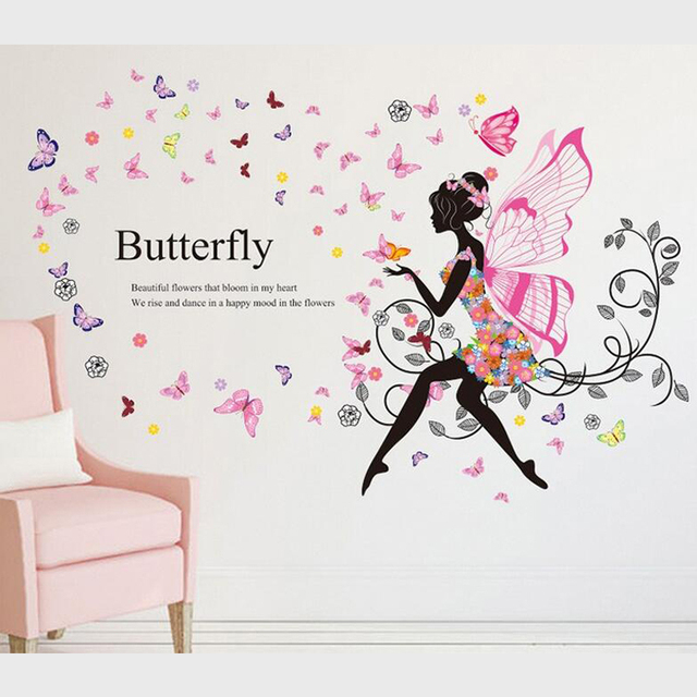 Wall stickers for girls bedroom romantic flower girl elf wings wall decals for home decoration marriage