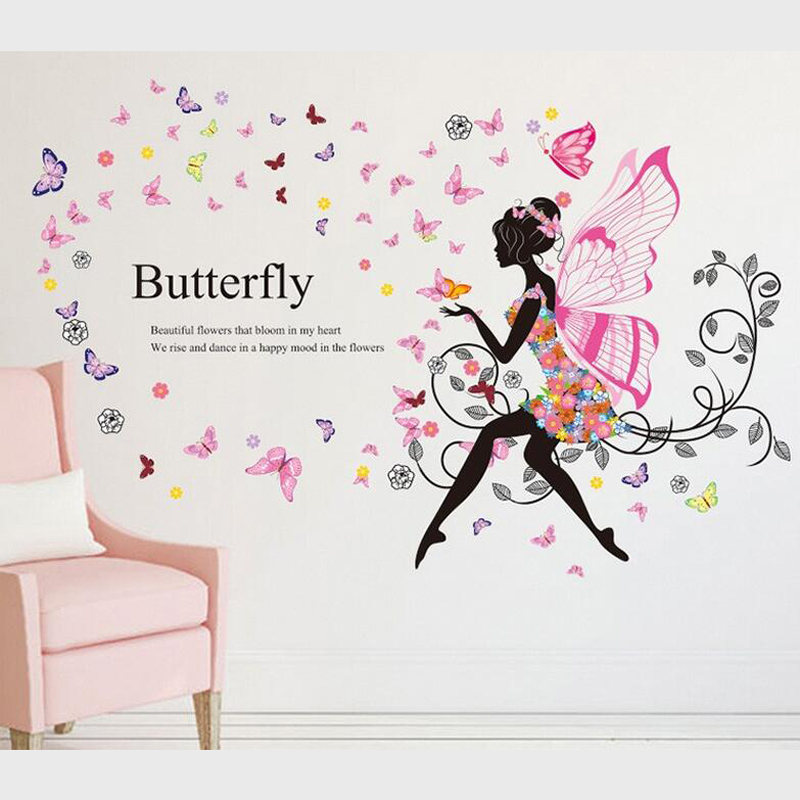 pegatinas para las nias dormitorio romntico flor chica elf alas tatuajes de pared para la decoracin