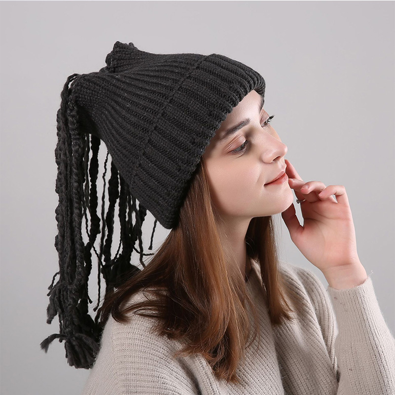 Apparel Accessories Independent New Fashion Autumn And Winter Acrylic Knitted Wool Straight Stripes Dirty Wig Male And Female Keep Warm Solid Color Hat Sn122 100% High Quality Materials Women's Skullies & Beanies