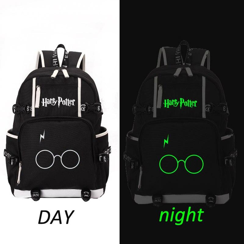 Harry Potter school bag noctilucous backpack student school bag Notebook backpack Leisure Daily backpack