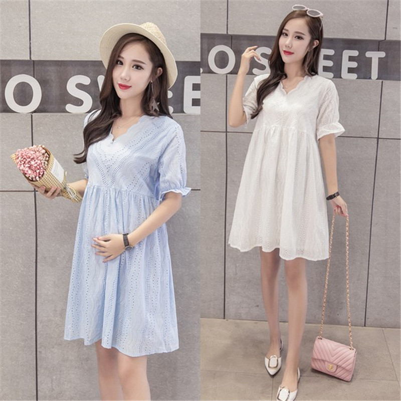 все цены на Summer Fashion Casual Plus Size O Neck Short Sleeve Lace Hollow Out Pregnant Women Dress Maternity Korean Cotton Dress Clothes