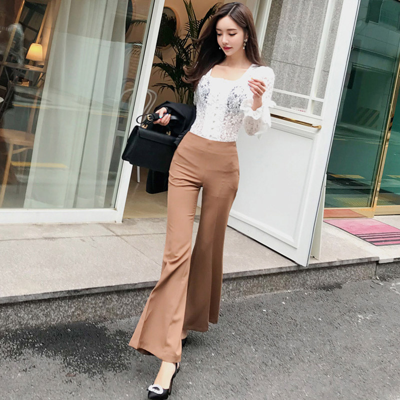 Blouse Pant Female Elegant Sleeve amp; Ladies Lace Picture Pieces out Flare 2 Slim Suits Autumn Office Hollow Women Color Full Set 7wPx8c