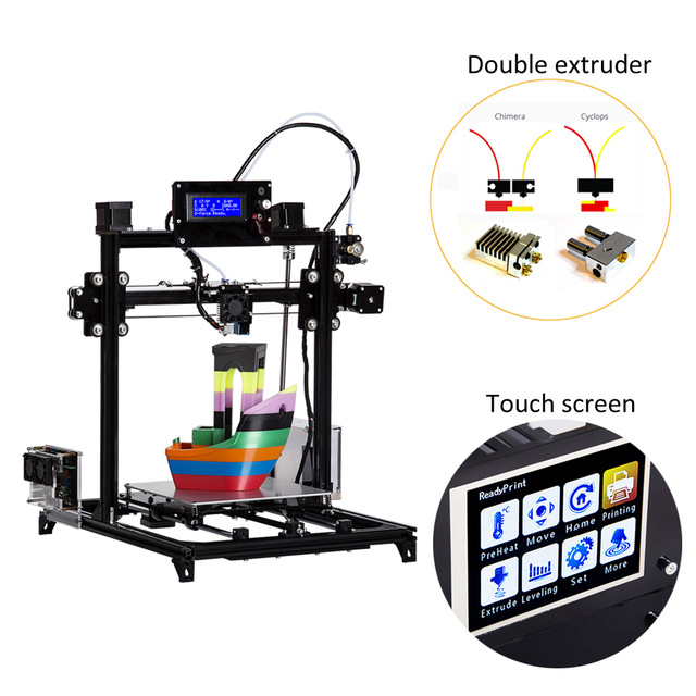 Flsun 3D Printer Kit Double Extruder Touch Screen Large Printing Area 300*300*420mm Auto Leveling 3D-Printer Two Rolls Filament flsun 3d printer big pulley kossel 3d printer with one roll filament sd card fast shipping