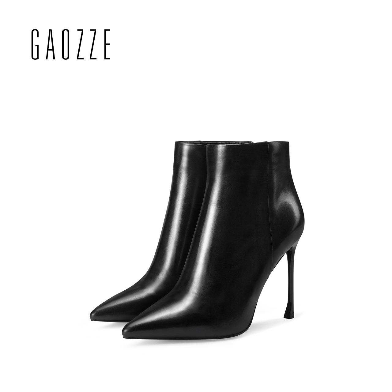 GAOZZE genuine leather ankle boots black 2017 new pointed toe side zipper female ankle boots sexy thin high heel women boots стоимость